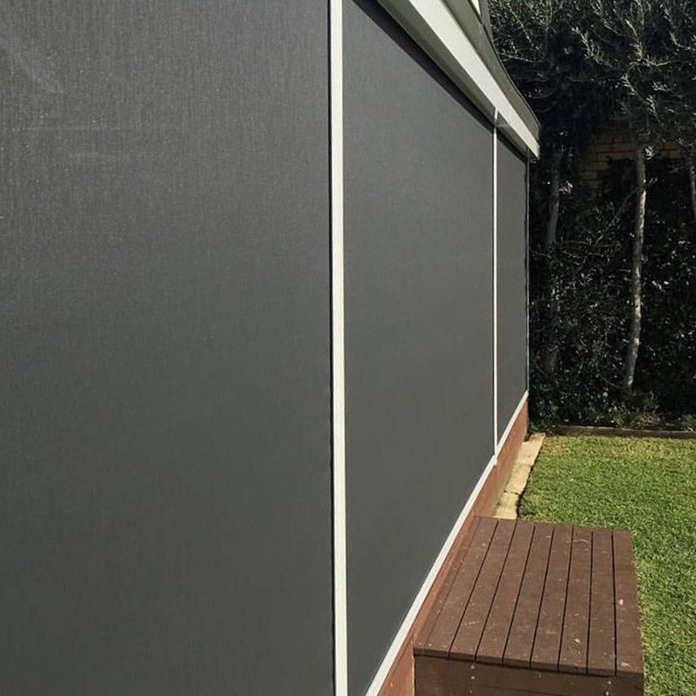 A black outdoor zipscreen